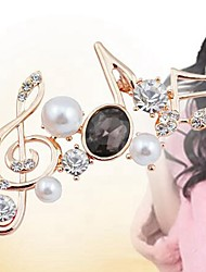 cheap -Women's Brooches Music Notes Stylish Artistic Imitation Pearl Brooch Jewelry Black White Burgundy For Daily