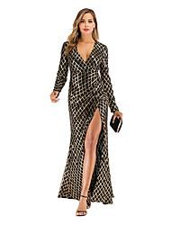 cheap -Women's Basic Sheath Dress - Geometric Maxi Black S M L XL