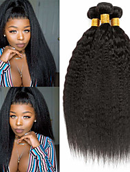 cheap -3 Bundles Hair Weaves Brazilian Hair kinky Straight Human Hair Extensions Remy Human Hair 100% Remy Hair Weave Bundles Natural Color Hair Weaves / Hair Bulk Human Hair Extensions 8-28 inch Natural