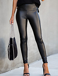 cheap -Women's Street chic Skinny Slim Pants - Solid Colored Black PU Black S M L