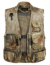 cheap -Men's Hiking Vest / Gilet Fishing Vest Outdoor Camo Lightweight Breathable Quick Dry Wear Resistance Top Mesh Single Slider Camping / Hiking Hunting Fishing Black / Brown / Desert Camouflage