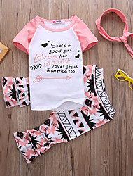 Недорогие -малыш Девочки Активный / Классический Геометрический принт / С принтом С принтом С короткими рукавами Обычный Обычная Набор одежды Белый