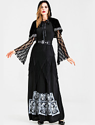 cheap -Witch Grim Reaper Cosplay Costume Halloween Props Adults' Women's Cosplay Halloween Halloween Festival Halloween Festival / Holiday Silk / Cotton Blend Polyster Black Women's Carnival Costumes Print