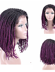 cheap -Synthetic Lace Front Wig Plaited Side Part Lace Front Wig Ombre Short Black#1B Black / Burgundy Strawberry Blonde / Medium Auburn Black / Purple Medium Brown Kanekalon 16 inch Women's Women New