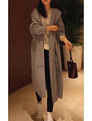 abordables -Femme Quotidien Printemps & Automne Longue Manteau, Couleur Pleine Capuche Manches Longues Acrylique Noir / Gris