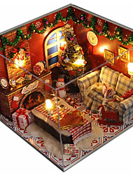 cheap -COSMOSLIGHT Dollhouse Miniature DIY House Kit Creative Room with Furniture Glass Cover for Romantic Artwork Music Box Gift Christmas Eve