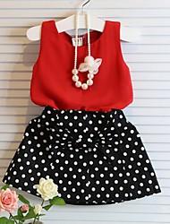 cheap -Kids Girls' Basic Polka Dot Sleeveless Clothing Set Red