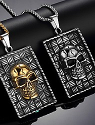 cheap -Men's Pendant Necklace Necklace Classic Skull Vintage Trendy Ethnic Fashion Chrome Gold Silver 65 cm Necklace Jewelry 1pc For Daily