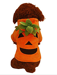 cheap -Dogs Cats Pets Christmas Winter Dog Clothes Orange Christmas Costume Shih Tzu Chihuahua Toy Poodle Fabric Christmas Pumpkin Halloween S M L