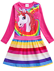 cheap -Kids Girls' Active Cute Blue & White Red Unicorn Striped Rainbow Cartoon Print Long Sleeve Knee-length Dress Blue