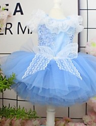 cheap -Dogs Outfits Dress Dog Clothes White Blue Pink Costume Large Dog Polyster Flower Wedding XS S M L