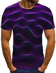 cheap -Men's Plus Size Geometric 3D Pleated Print T-shirt Street chic Weekend Round Neck Purple / Summer / Short Sleeve