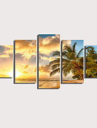 cheap -Print Rolled Canvas Prints Stretched Canvas Prints - Landscape Floral / Botanical Modern Five Panels Art Prints