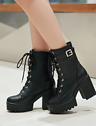 cheap -Women's Boots Chunky Heel Round Toe Buckle PU Booties / Ankle Boots Casual / Minimalism Spring & Summer / Fall & Winter Black / Brown / Yellow