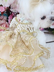 cheap -Dogs Outfits Dress Dog Clothes Gold Costume Polyster Flower Wedding XS S