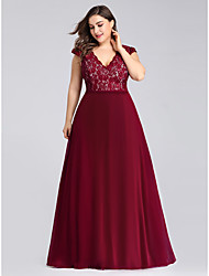 cheap -A-Line V Neck Floor Length Chiffon / Lace Short Sleeve Plus Size / Elegant Mother of the Bride Dress with Lace 2020