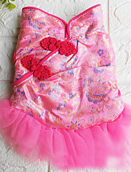 cheap -Dogs Cats Pets Dress Fleece Coat Winter Dog Clothes Fuchsia Costume Polyster Print Ethnic XS S M L XL