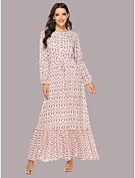 cheap -Women's Daily Wear Dress Sophisticated Elegant Maxi Chiffon Swing Dress - Geometric Patchwork Print Blushing Pink M L XL XXL Belt Not Included