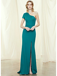cheap -Sheath / Column One Shoulder Sweep / Brush Train Chiffon Bridesmaid Dress with Split Front