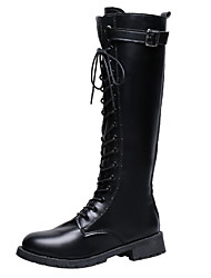 cheap -Women's Boots Knee High Boots Chunky Heel Round Toe PU Knee High Boots Fall & Winter Black / Party & Evening