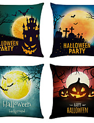 cheap -Set of 4 Halloween Party Linen Square Decorative Throw Pillow Cases Sofa Cushion Covers 18x18