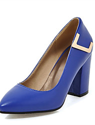 cheap -Women's Heels Chunky Heel Pointed Toe PU Spring &  Fall Black / White / Blue / Wedding