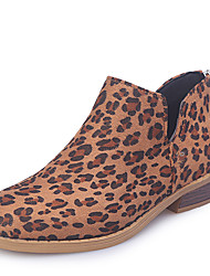 cheap -Women's Boots Print Shoes Block Heel Pointed Toe Stitching Lace PU Booties / Ankle Boots Casual Walking Shoes Fall & Winter Black / Camel / Leopard