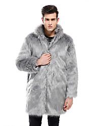 cheap -Men's Daily Winter Long Faux Fur Coat, Solid Colored Stand Long Sleeve Faux Fur Black / Gray