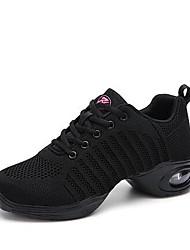 cheap -Women's Dance Shoes Knit Dance Sneakers Sneaker Thick Heel Customizable Black / White
