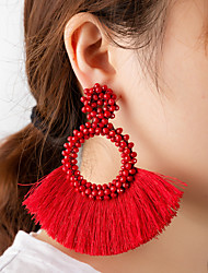 cheap -Women's Drop Earrings Tassel Ribbon Artistic Natural Sweet Earrings Jewelry Black / Beige / White / Yellow For Stage Club Bar 1 Pair