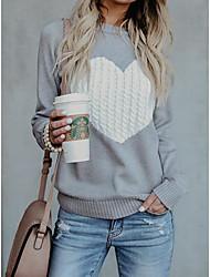 cheap -Women's Daily Basic Geometric / Heart Long Sleeve Slim Regular Pullover Sweater Jumper Black / Red / Navy Blue S / M / L