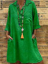 cheap -Women's Plus Size Basic Loose Shift Dress - Solid Colored Shirt Collar Black Blushing Pink Green S M L XL