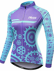 cheap -21Grams Women's Long Sleeve Cycling Jersey Blue Bike Jersey Top Mountain Bike MTB Road Bike Cycling Thermal / Warm UV Resistant Breathable Sports Winter 100% Polyester Clothing Apparel / Stretchy