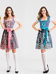 cheap -Oktoberfest Beer Dirndl Trachtenkleider Women's Dress Bavarian Costume Blue Red / Floral