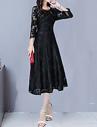 abordables -Femme Elégant Maxi Trapèze Robe - Dentelle, Géométrique Noir Rose Claire Rouge M L XL Manches 3/4