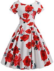 cheap -Women's Sheath Dress - Floral Red S M L XL