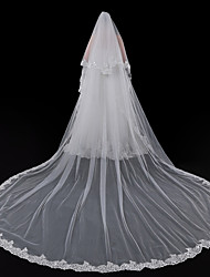 cheap -One-tier European Style Wedding Veil Cathedral Veils with Trim 196.85 in (500cm) Lace / Tulle / Mantilla
