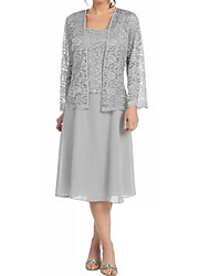 cheap -A-Line Square Neck Tea Length Chiffon / Lace Long Sleeve Elegant / Plus Size Mother of the Bride Dress with Lace 2020