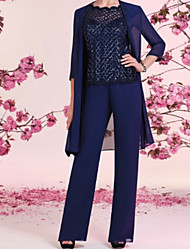 cheap -Two Piece / Pantsuit / Jumpsuit Scalloped Neckline Floor Length Chiffon / Sequined 3/4 Length Sleeve Wrap Included Mother of the Bride Dress with Ruching 2020