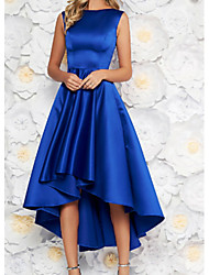 cheap -A-Line Jewel Neck Asymmetrical Satin Elegant Prom Dress 2020 with Pleats