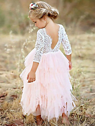 cheap -Kids Girls' Pink Tiered Tulle Tutu Lace Top Scalloped Edges Back Party Flower Girl Dress