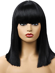 cheap -Synthetic Wig Straight With Bangs Wig Long Natural Black Synthetic Hair 39 inch Women's Women Black