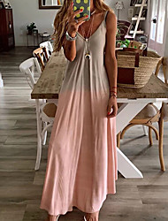 cheap -Women's 2020 Plus Size Maxi Slim Swing Dress - Color Block Strap Deep V Spring & Summer Yellow Blushing Pink Gray S M L XL
