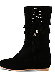 cheap -Women's Boots Flat Heel Round Toe Suede Mid-Calf Boots Fall & Winter Black / Camel / Red