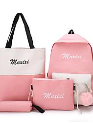 cheap -Women's Pom-pom Canvas Bag Set Color Block 4 Pieces Purse Set Black / Blushing Pink / Yellow