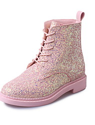 cheap -Women's Boots Chunky Heel Round Toe Sequin PU Booties / Ankle Boots Summer Pink / White / Black