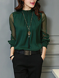 cheap -Women's Daily Work Basic / Street chic Blouse - Solid Colored Ruffle / Mesh Black