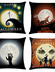 cheap -Set of 4 Halloween Linen Square Decorative Throw Pillow Cases Sofa Cushion Covers 18x18