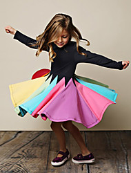 cheap -Kids Little Girls' Dress Rainbow Striped Color Block Causal Black Fuchsia Gray Knee-length Long Sleeve Floral Cute Dresses Regular Fit