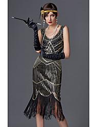 abordables -Gatsby Charleston Années 1920 Gatsby Vingtaine Bandeau Garçonne Femme Paillettes Costume Noir / Doré / Champagne Vintage Cosplay Soirée Retour Fête scolaire Sans Manches